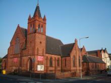 Whitehall Road Methodist Church, Bensham, Gateshead, as seen from the junction with Coatsworth Road