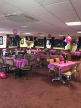 Function room decorated for an event.